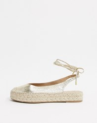 Stradivarius Lace Up Espadrille In Gold