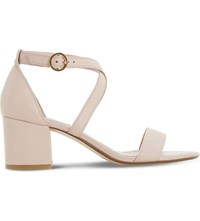 Dune Montie Cross Strap Leather Sandals Blush Leather