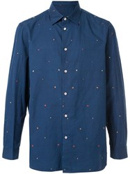 Loveless Embroidered Hearts Shirt Blue