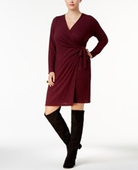 Ny Collection Plus Size Ribbed Sweater Wrap Dress Vino