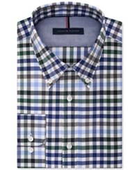 Tommy Hilfiger Men's Slim Fit Non Iron Navy Check Dress Shirt Blue