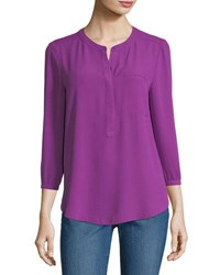 Nydj 3 4 Sleeve Pleated Back Blouse Violetta