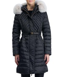 Gorski Apres Ski Hooded Quilted Puffer Ski Jacket With Fox Fur Trim Black