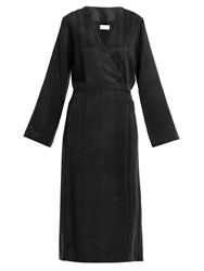 Raey Split Front And Back Wrap Dress Black