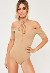 Missguided Nude Lace Up Choker Bardot Bodysuit Camel