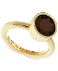 T Tahari Gold Tone Mixed Jewels Round Stone Ring Brown