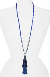 Stella Ruby And Beaded Tassel Necklace Gold Blue