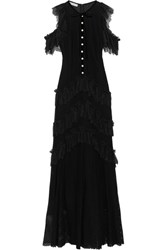 Philosophy Di Lorenzo Serafini Tiered Ruffled Cotton Blend Lace Maxi Dress Black