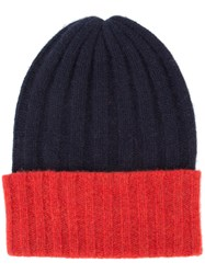 The Elder Statesman Cashmere Colour Block Beanie Blue