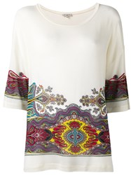 Etro Abstract Print Loose Fit T Shirt White