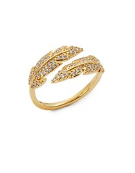 Nadri Wrapped Feather Ring Goldtone