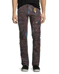 Robin's Jeans Super Distressed Denim Burgundy