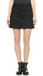 Vera Wang Leather Panel Miniskirt Black