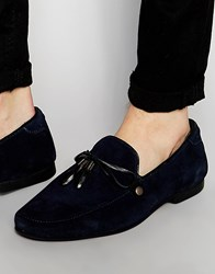 Asos Loafers In Navy Suede With Leather Trims Navy