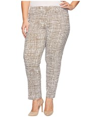 Krazy Larry Plus Size Pull On Ankle Pants Taupe White Spiderweb Women's Dress Pants Beige