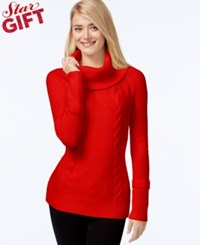 Calvin Klein Cowl Neck Cable Knit Sweater Rouge