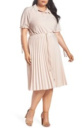 Elvi Plus Size Women's The Rica Shirtdress Pink
