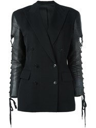 Jean Paul Gaultier Vintage Mixed Material Blazer Black