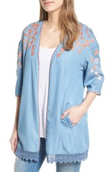 Billy T Embroidered Chambray Kimono Blue Embroider