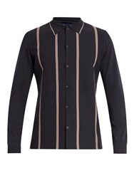 Lanvin Striped Wool And Cotton Blend Shirt Navy