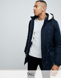 Bellfield Tall Borg Lined Parka With Hood In Navy