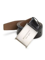 Burberry Grained Leather Belt Black