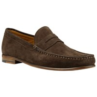 John Lewis Lloyd Suede Penny Loafers Chocolate