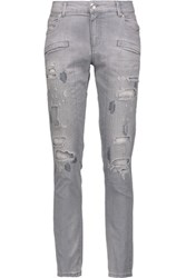 Balmain Pierre Low Rise Distressed Skinny Jeans Gray