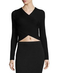 Michael Michael Kors Long Sleeve 'Belly Button' Wrap Sweater Black