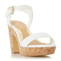 Head Over Heels Indiya Two Part Cork Platform Sandals White