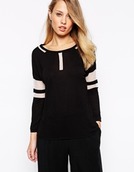 Karen Millen T Shirt With Mesh Panel Blackwhite