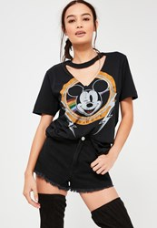 Missguided Black Mickey Mouse V Neck Cut Out T Shirt Grey