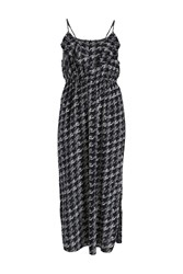 Samya Side Split Printed Maxi Dress Blue