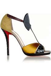 Christian Louboutin Aztec 120 Leather Satin Stingray And Watersnake Sandals Yellow
