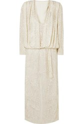 Attico Bead Embellished Silk Georgette Maxi Dress White
