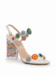 Valentino Beaded Lucite Heel Sandals Ivory Multi