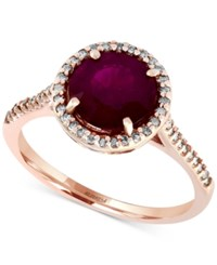 Effy Collection Rosa By Effy Ruby 2 5 8 Ct. T.W. And Diamond 1 5 Ct. T.W. Ring In 14K Rose Gold