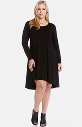 Karen Kane Long Sleeve Jersey High Low Dress Plus Size Black