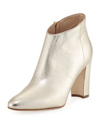 Manolo Blahnik Brusta Metallic Leather Bootie Gold