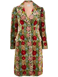 Etro Floral Print Single Breasted Coat Red