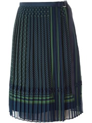 Sacai Pleated Midi Skirt Blue