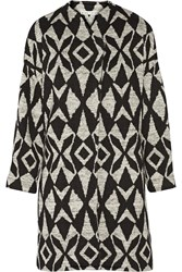 Alice Olivia Emett Printed Stretch Knit Cocoon Coat Black
