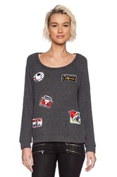 Lauren Moshi Brenna Color Patch Combo Pullover Charcoal