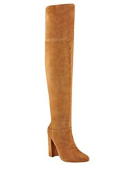 Marc Fisher Breley Suede Over The Knee Boots Dark Natural