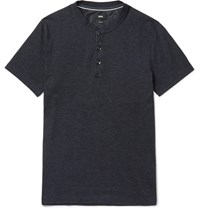 Hugo Boss Slim Fit Denim Trimmed Cotton Blend Jersey Henley T Shirt Navy
