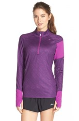Women's Asics 'Thermostripe' Print Half Zip Jacket Blackberry Stripe Byzantium
