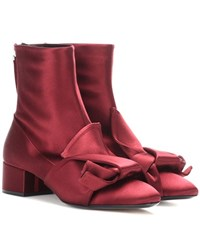 N 21 Satin Ankle Boots Red