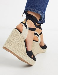 Stradivarius Black Lace Up Espadrille Wedge