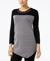 Alfred Dunner Petite Theater District Asymmetical Sweater Black