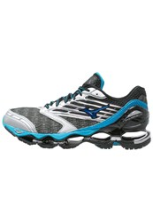 Mizuno Wave Prophecy 5 Cushioned Running Shoes Gunmetal Atomic Blue Black Silver
